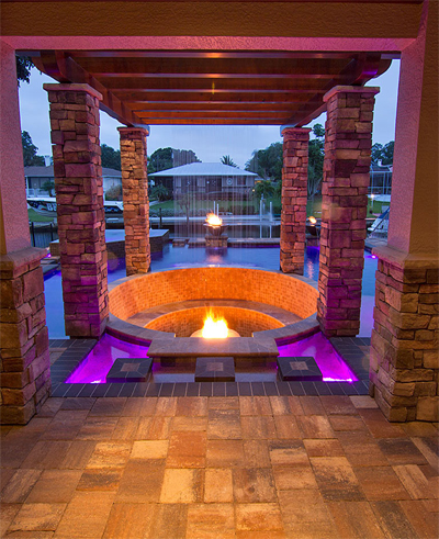 Custom Water Feature Fire Pit