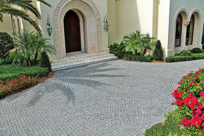 Residential driveway granite pavers install by Allied Paver Systems