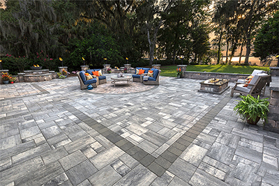 natural stone bluestone patio in commercial install by Allied Paver Systems
