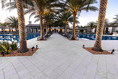 Commercial shell stone paver install by Allied Paver Systems